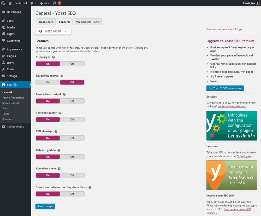 Yoast - Feature Settings