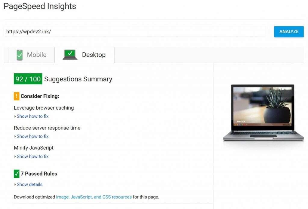 JS和CSS优化后PageSpeed Insights测评结果