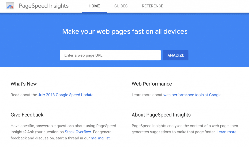 Google PageSpeed Insights网站