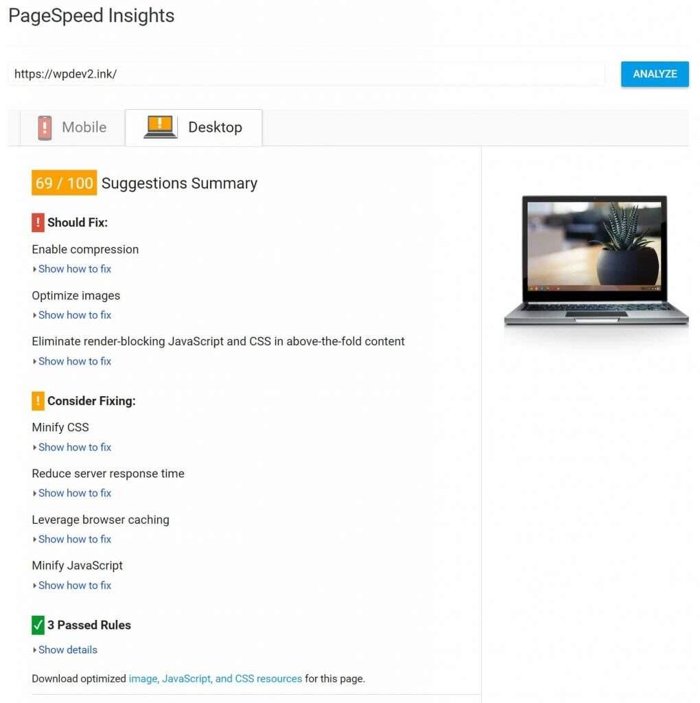 未做优化前Google PageSpeed Insights评测得分截图