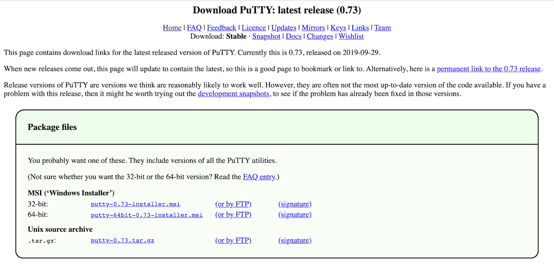 PuTTY下载页面
