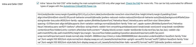 在Autoptimize中内联和推迟CSS