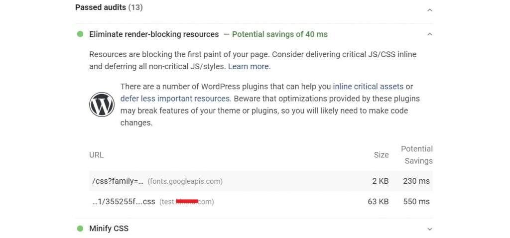 启用WP Rocket后PageSpeed Insights评测结果