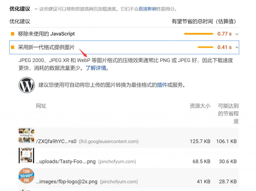 Google PageSpeed Insights建议使用WebP格式图片