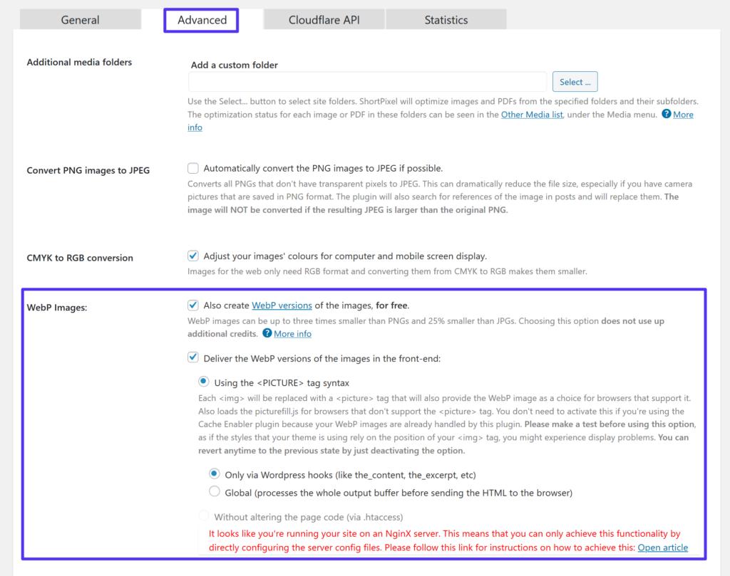 ShortPixel插件启用WebP图片支持