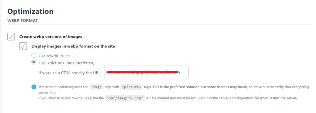 Imagify启用WebP图片优化设置