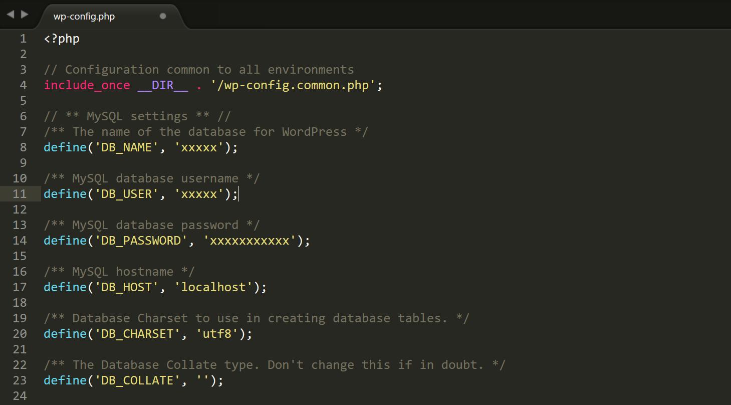 wp-config.php文件数据库访问凭证