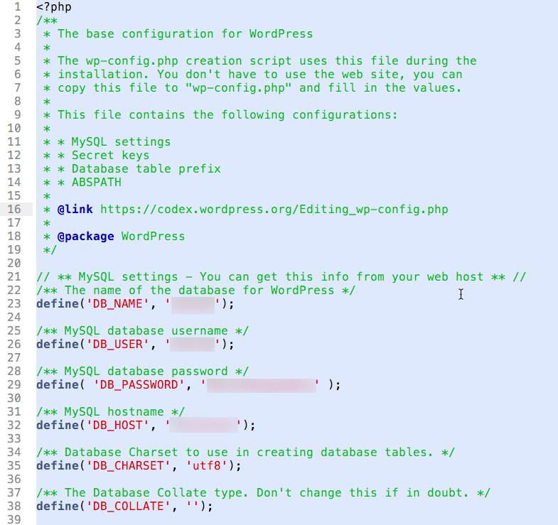 wp-config.php文件示例
