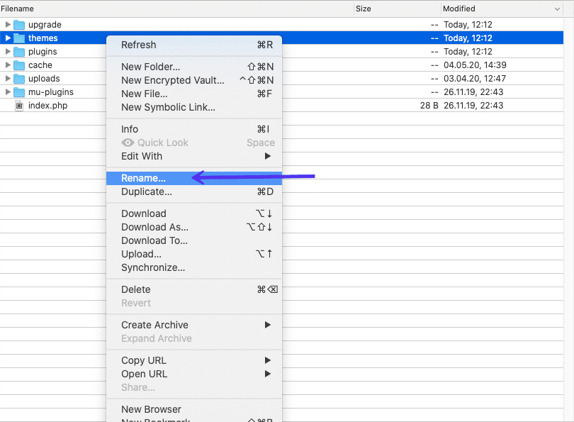 重命名主题文件夹