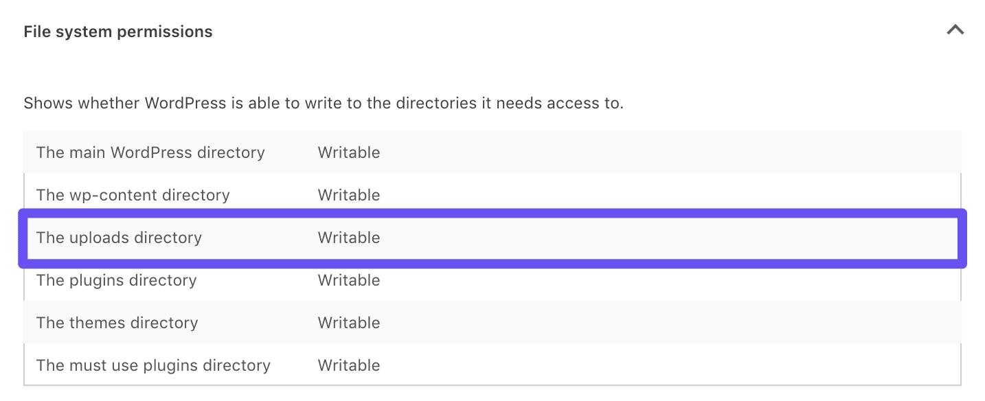 网站站点健康工具中的可写文件权限