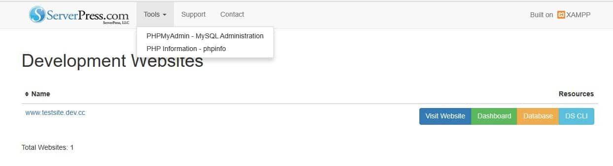 DesktopServer本地主机的管理员界面