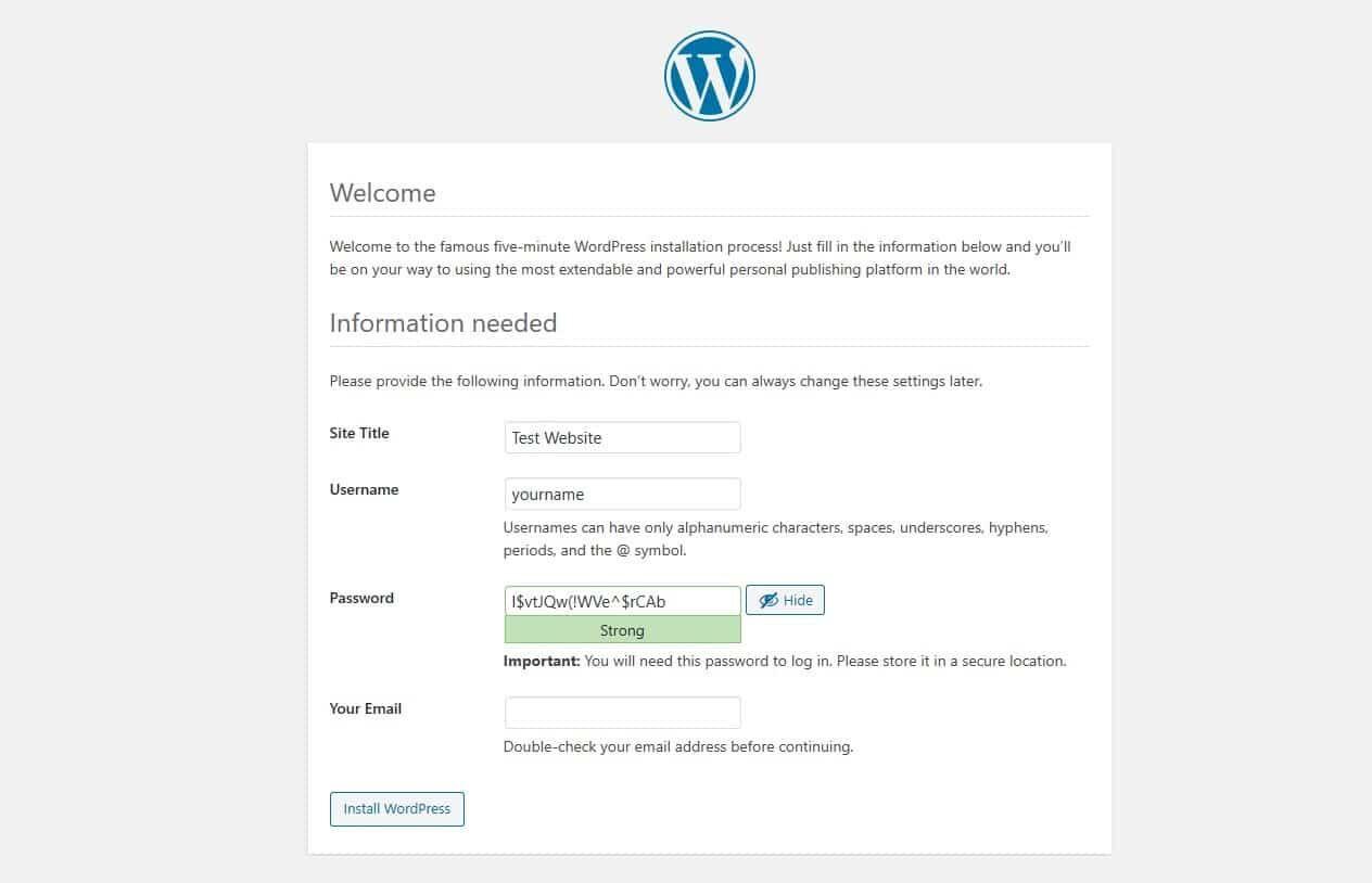 WordPress网站搭建欢迎页面