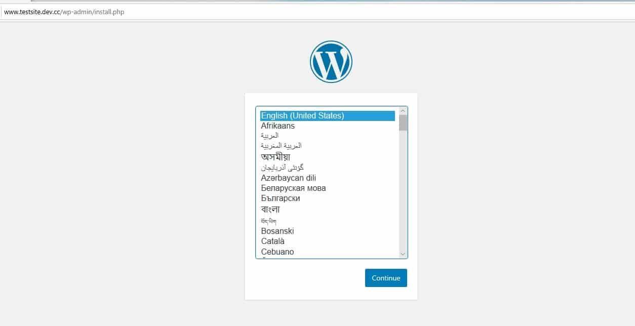 WordPress安装设置页面
