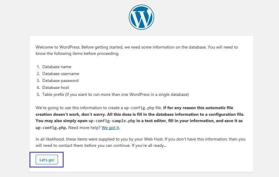 WordPress安装-数据库详细信息页面