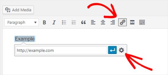 经典编辑器添加文本链接