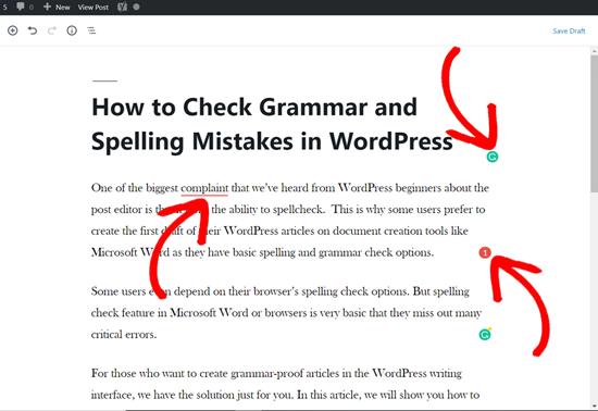 WordPress文章编辑拼写和语法纠正