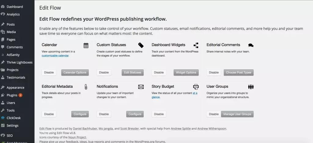 EditFlow插件功能列表