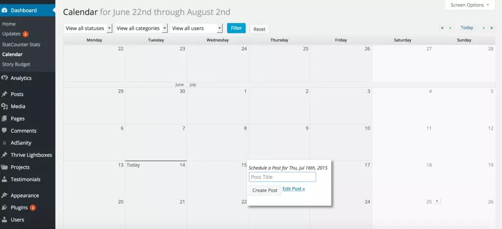EditFlow插件日程管理