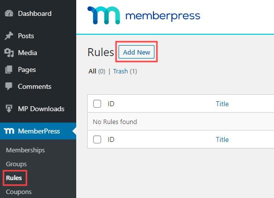 MemberPress插件新增规则