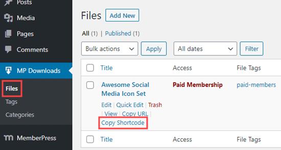 MemberPress插件下载短代码