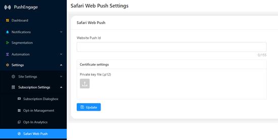 Safari浏览器推送通知设置
