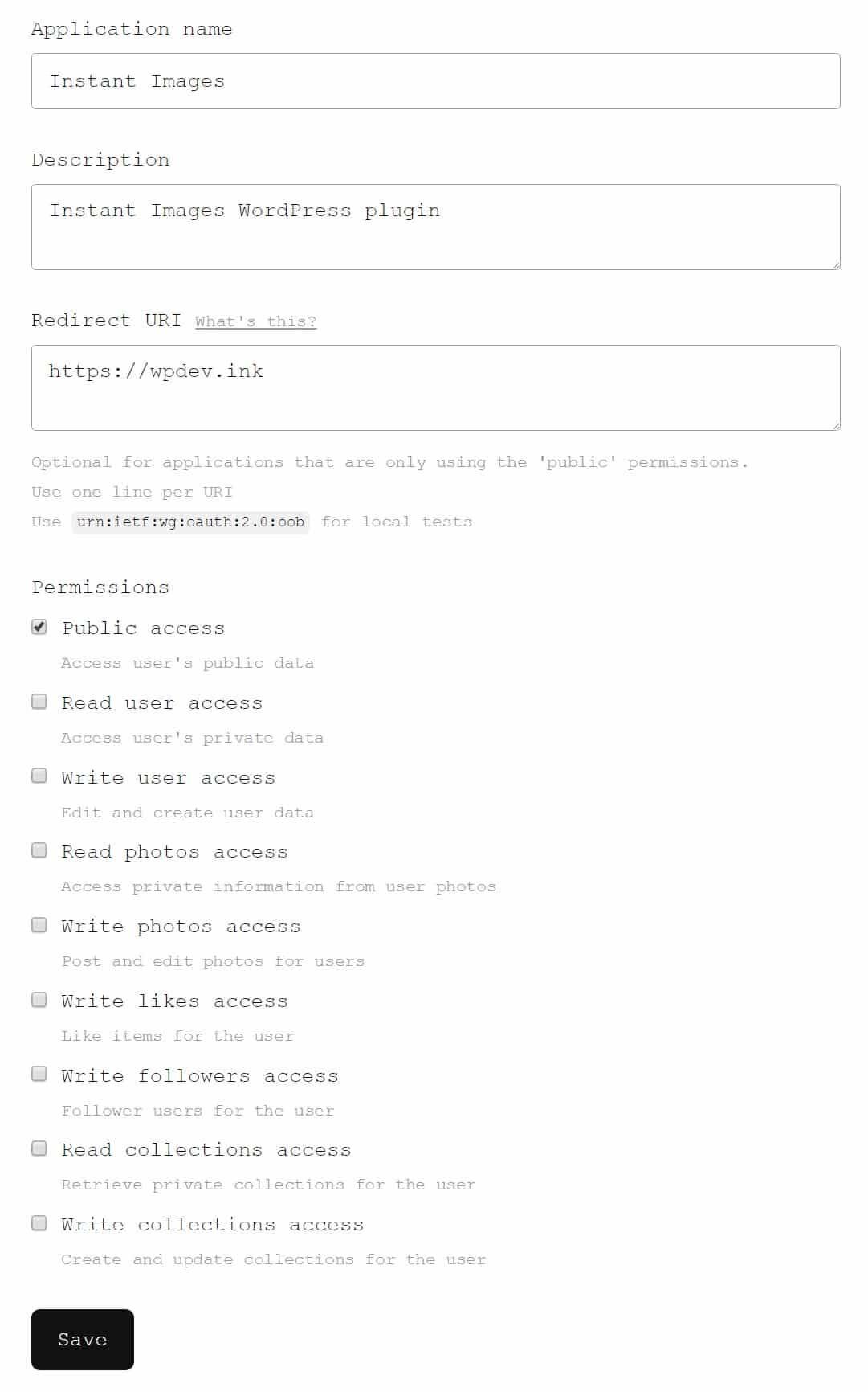Unsplash开发者应用信息