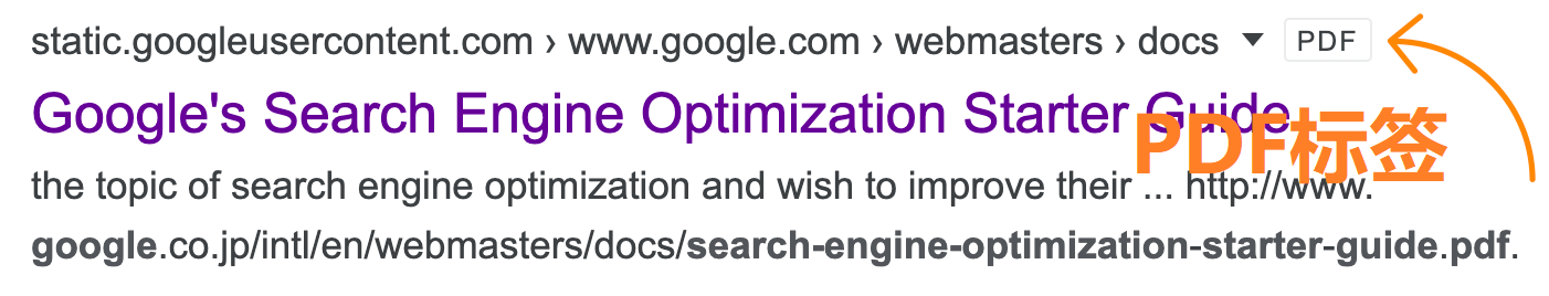 Google搜索结果PDF文档标签