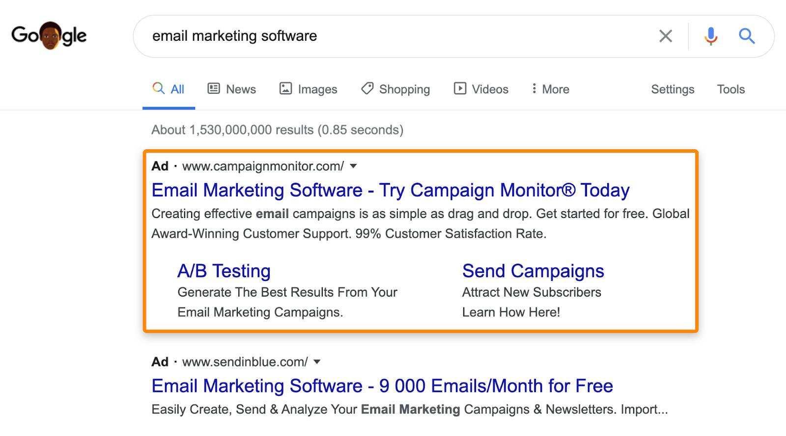 谷歌搜索引擎点击广告展示案例