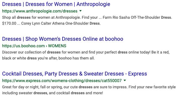 商品关键词搜索结果