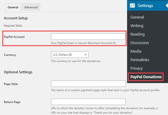 PayPal Donations插件设置
