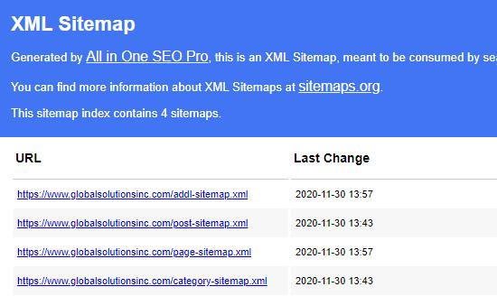 aioseo插件生成xml网站地图