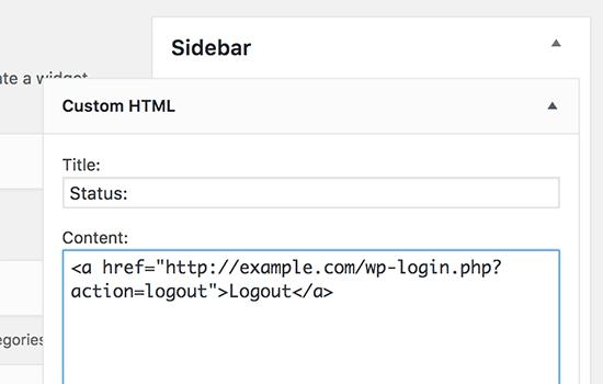 WordPress注销小工具HTML代码