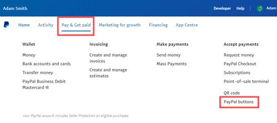 PayPal捐赠按钮官方选项