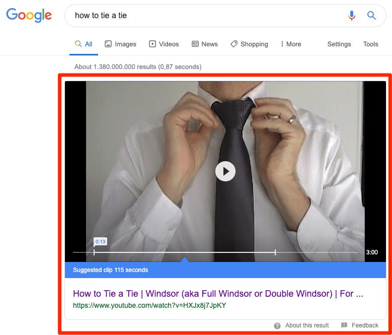 打领带教程油管视频谷歌搜索结果