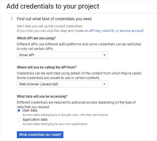 Gmail服务API凭证信息填写