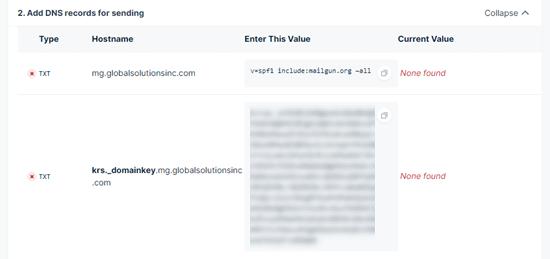mailgun新增子域名DNS记录