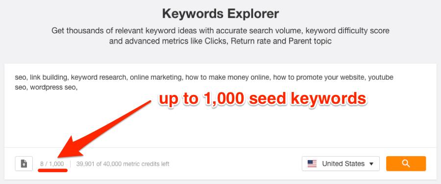 ahrefs关键词资源工具支持更多关键词