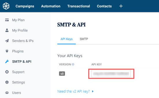 Sendinblue授权API key生成