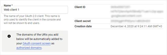 Web APP客户端ID和密钥