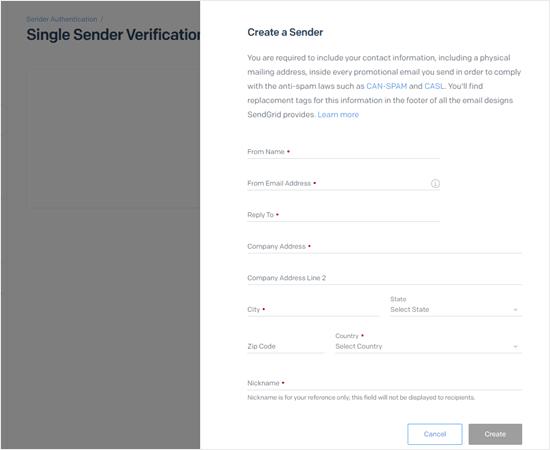 SendGrid发件人信息填写