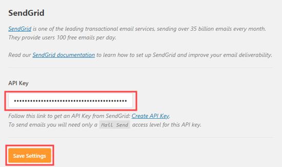 WP Mail SMTP插件填写sendgrid API密钥