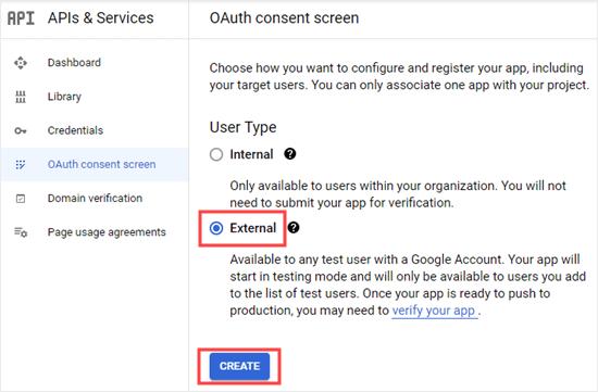 Gmail服务API同意协议类型