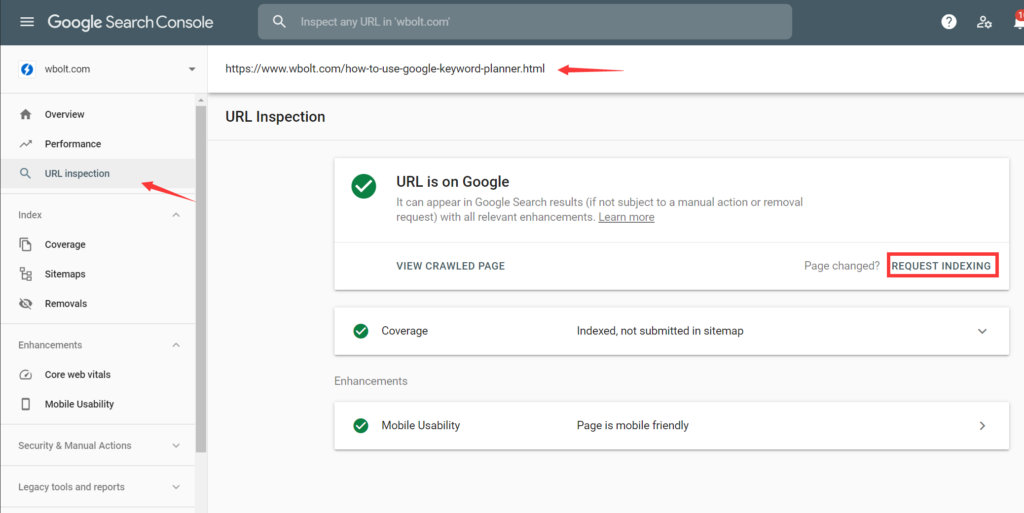 Google Search Console中的URL检查选项