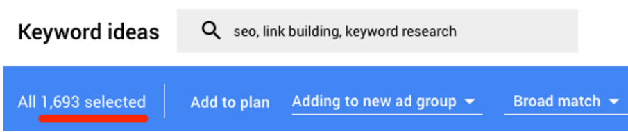 谷歌关键词规划师搜索结果