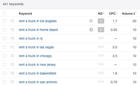卡车租车短语匹配长尾关键词列表