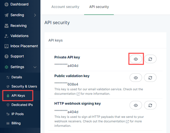 mailgun生成隐私API密钥