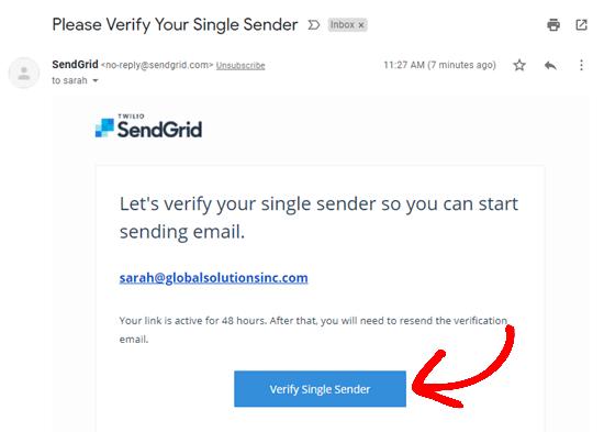 verify-single-sender-sendgrid