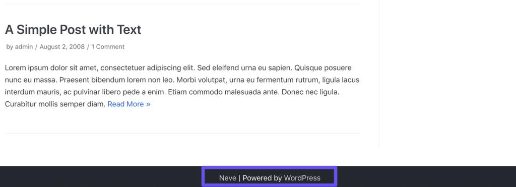 """页脚主题开发者网站和""""Powered by WordPress""""链接"""
