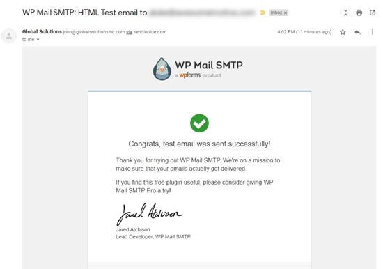 WP Mail SMTP测试邮件示例
