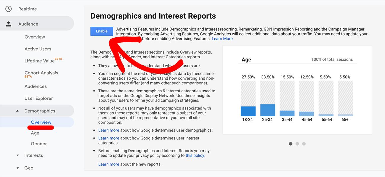 Google Analytics受众特征和兴趣跟踪